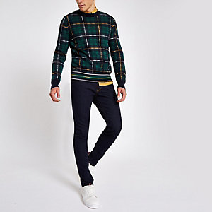 Navy check slim fit crew neck sweater