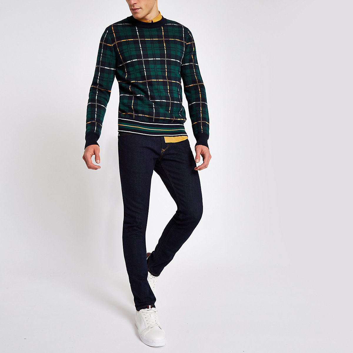 Navy check slim fit crew neck jumper