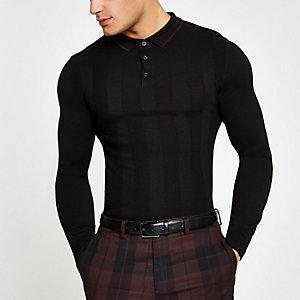 Langärmliges, schwarzes Polohemd