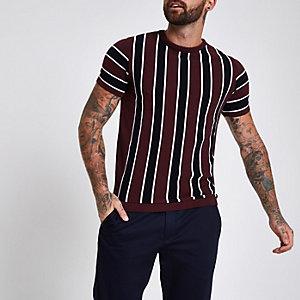 T-shirt slim rouge foncé rayé