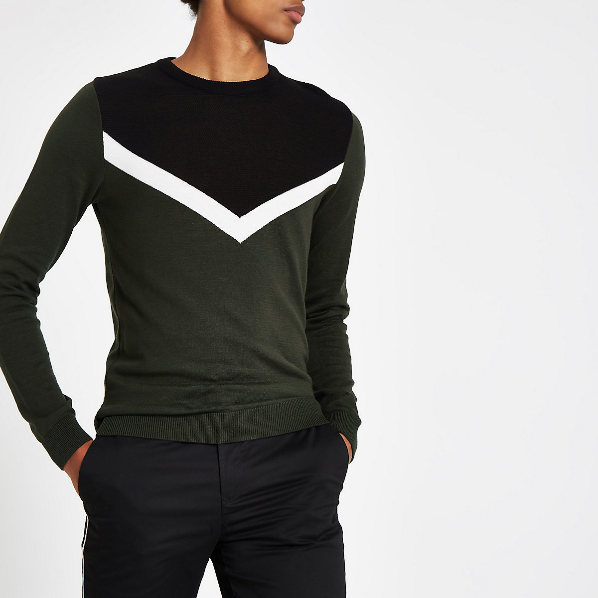 Green contrast crew neck sweater