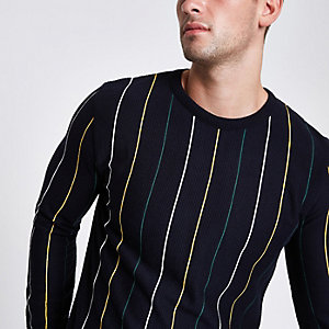Navy slim fit stripe textured jumper
