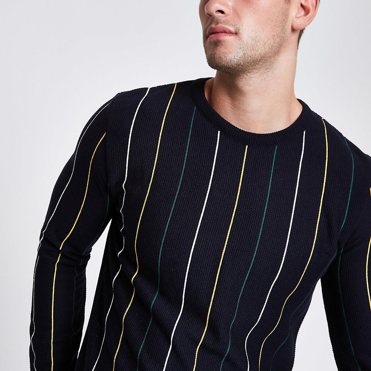 Navy slim fit stripe textured sweater