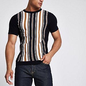 T-shirt slim en maille bleu marine à rayures verticales