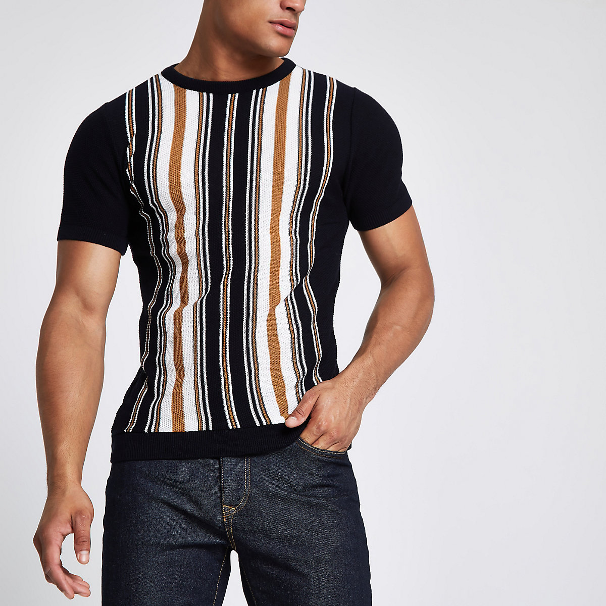 Navy vertical stripe slim fit knit T-shirt