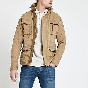 Superdry – Steingraue Jacke mit vier Taschen