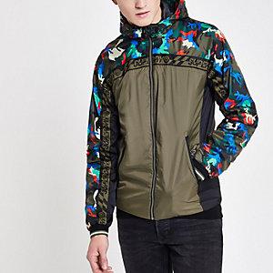 Superdry – Grüne Jacke mit Camouflage-Muster