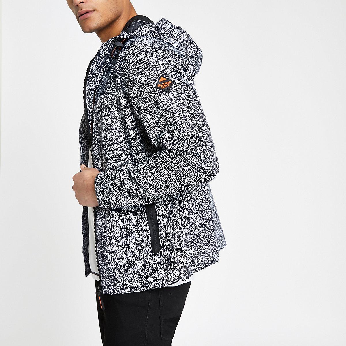 Grey Logo Cagoule Print Homme Superdry amp; Manteaux Vestes HpFxBw5