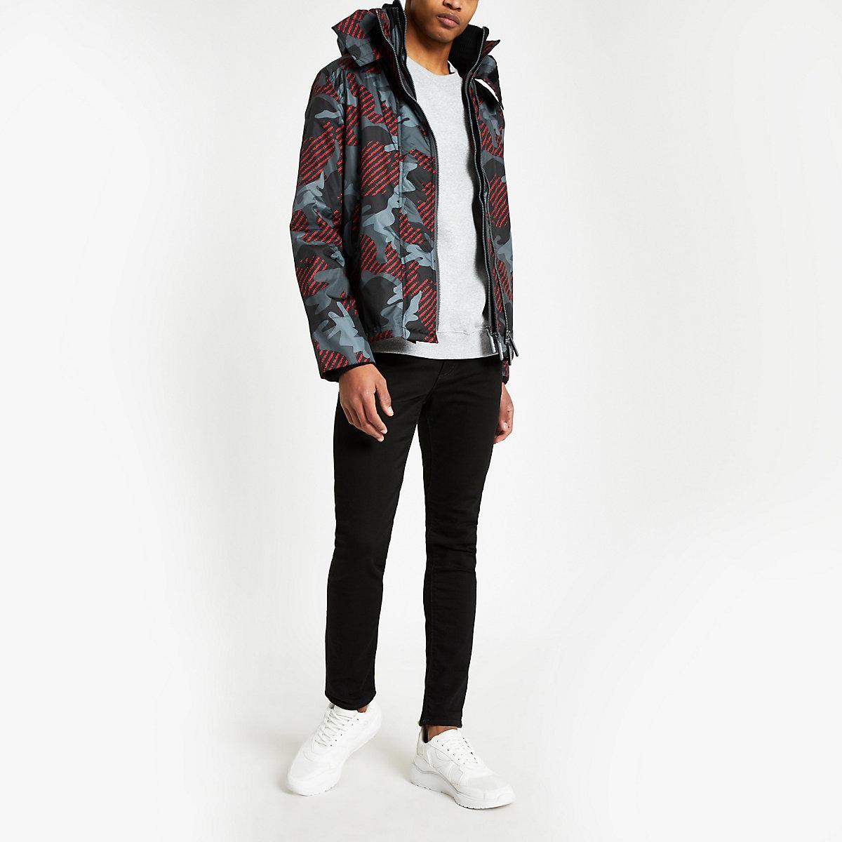 Superdry black camo hooded jacket