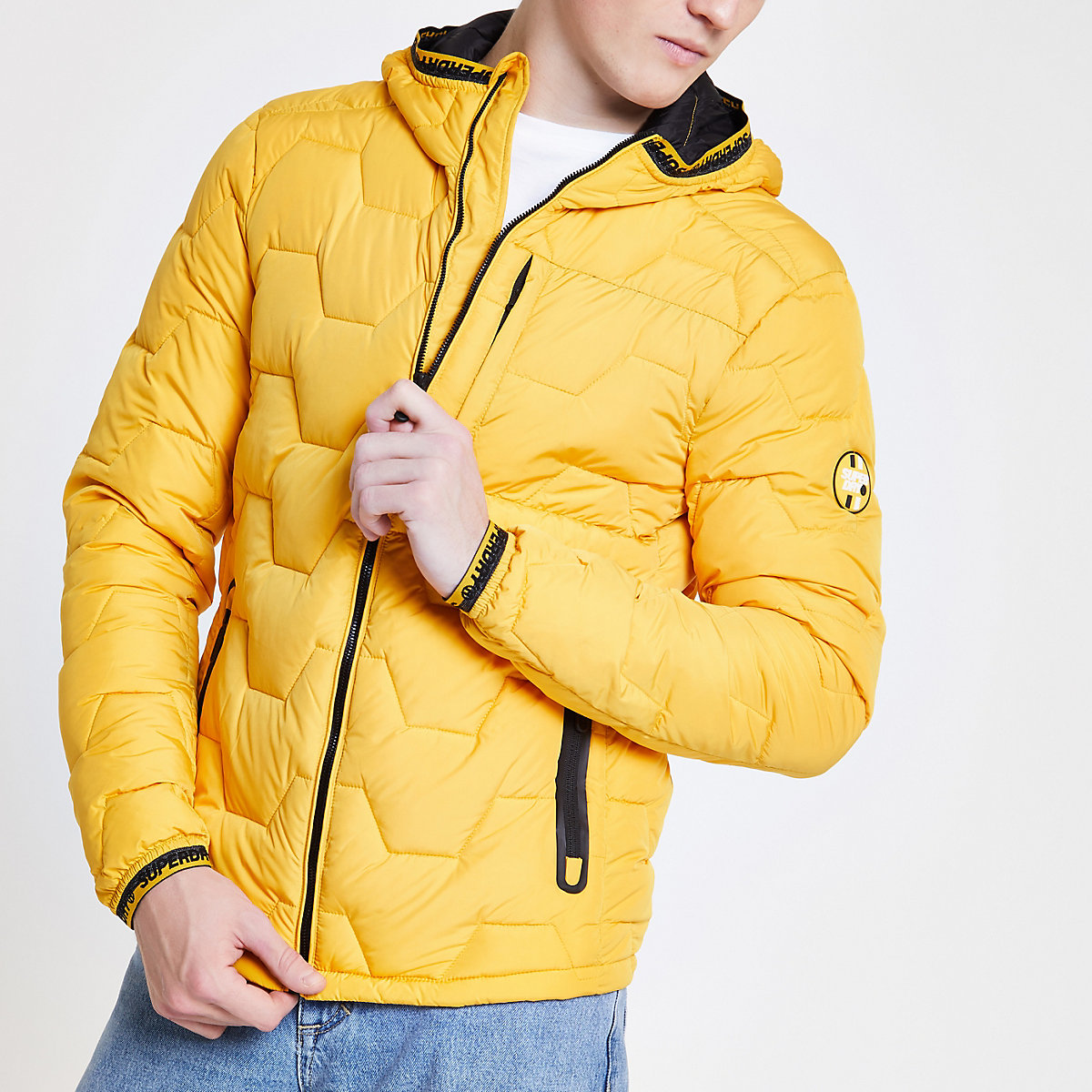 Superdry yellow quilted puffer jacket