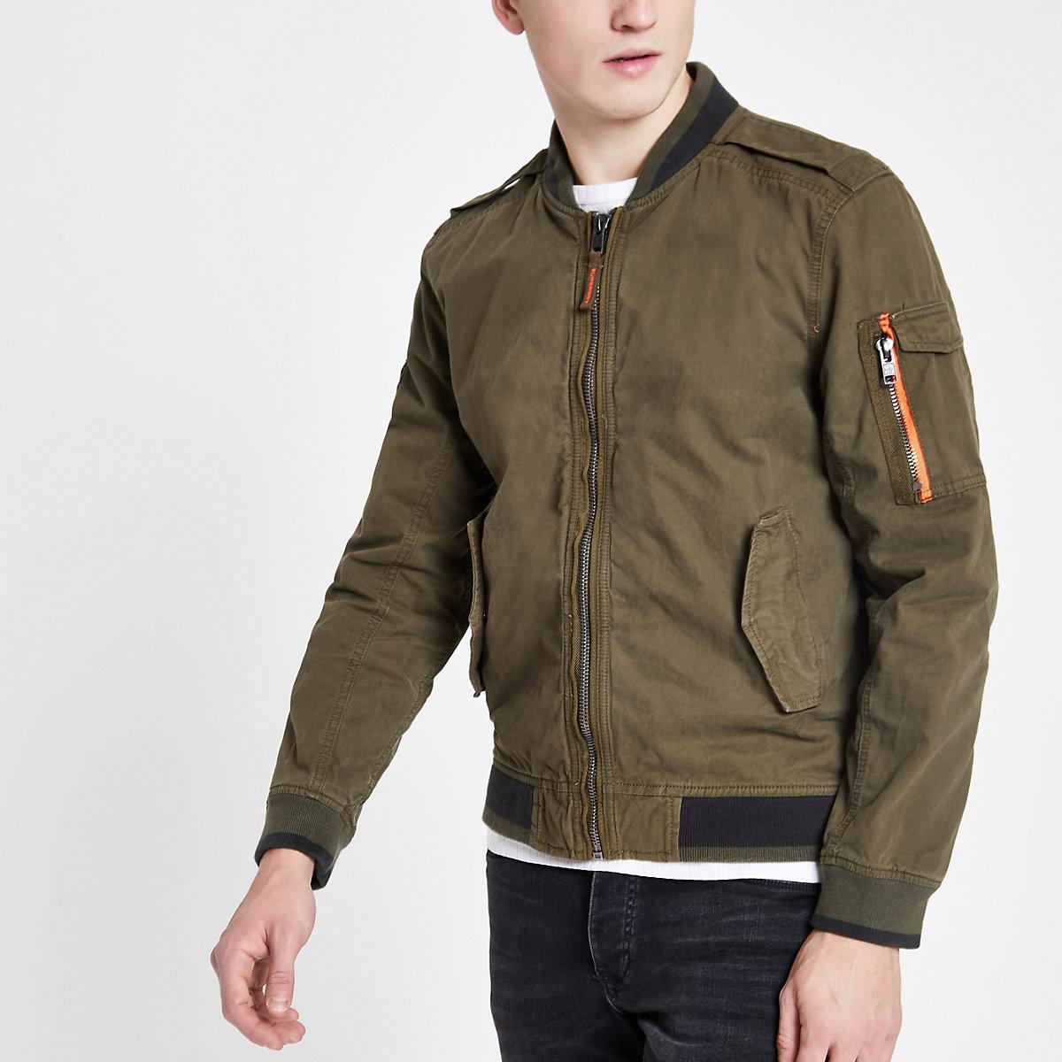 Superdry khaki bomber jacket
