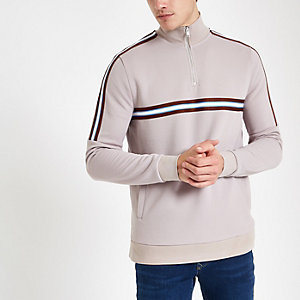 Stone funnel neck slim fit zip-up sweatshirt