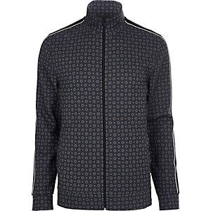 Big & Tall blue tile print track jacket