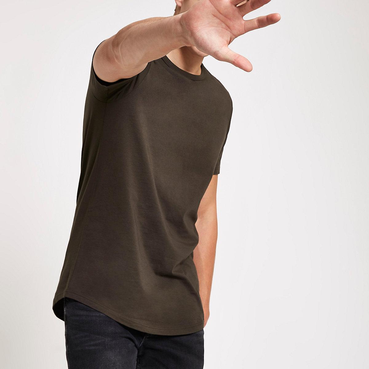 Dark brown curved hem longline T-shirt