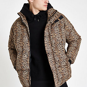 Brown leopard print puffer jacket