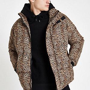 Doudoune à imprimé léopard marron