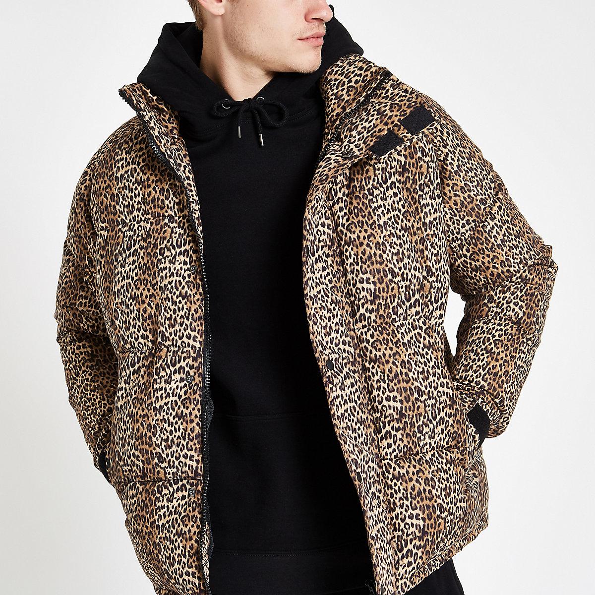 08d6955e54d9 Brown leopard print puffer jacket - Jackets - Coats   Jackets - men