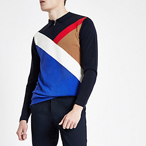 Navy diagonal block zip slim fit polo shirt