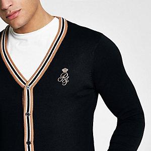 Zwart aansluitend vest met V-hals en contrasterend randje
