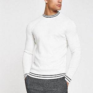 Ecru tipped crew neck muscle fit sweater