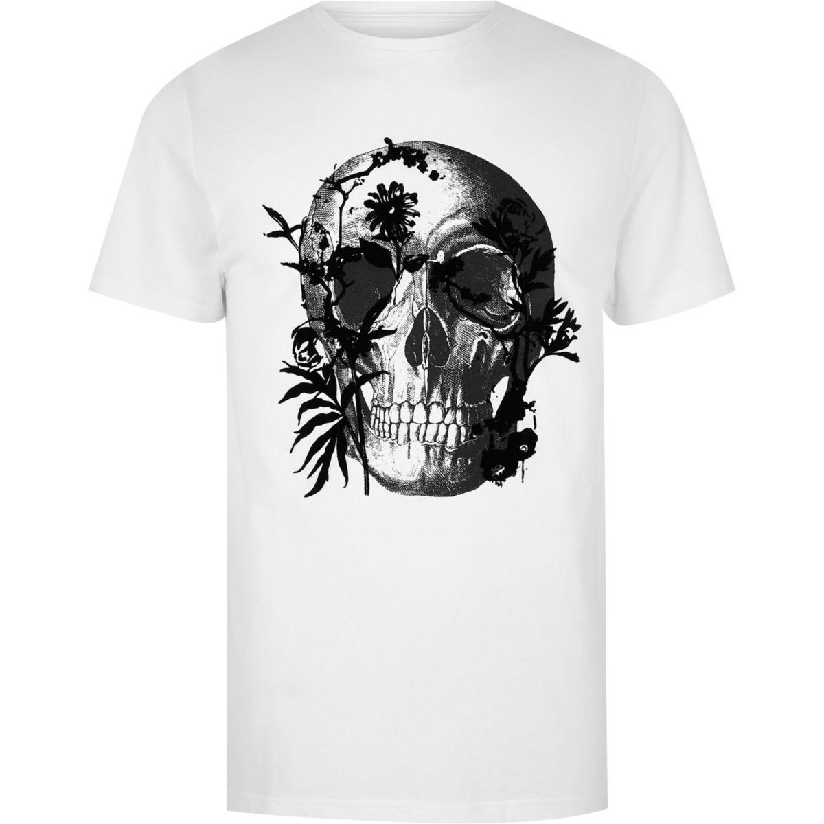 Big and Tall skull print slim fit T-shirt