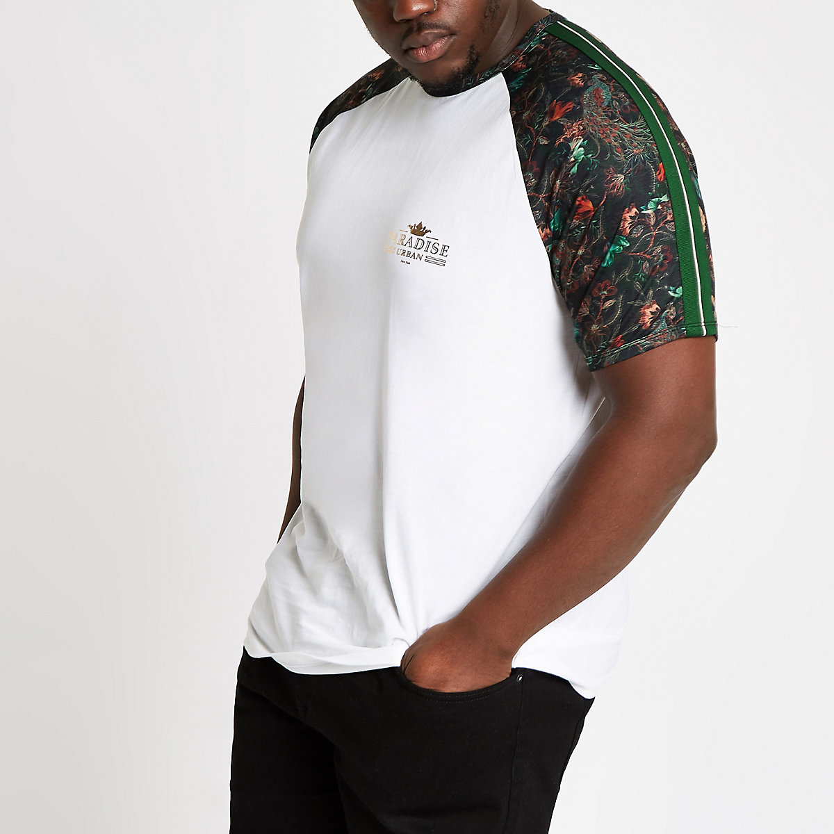 Big and Tall white peacock raglan T-shirt