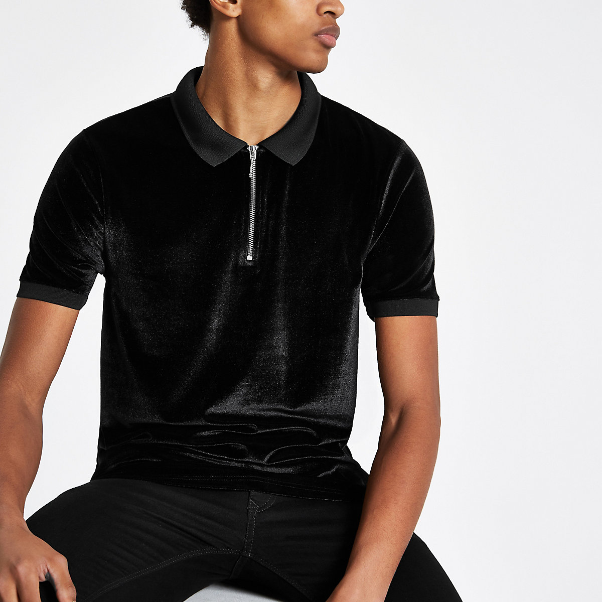 Black slim fit velour zip up front polo shirt