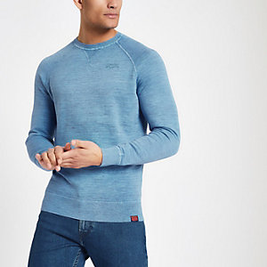 Superdry blue knit crew neck sweatshirt