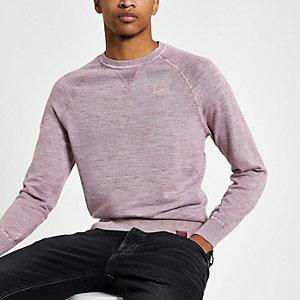 Superdry pink crew neck sweatshirt