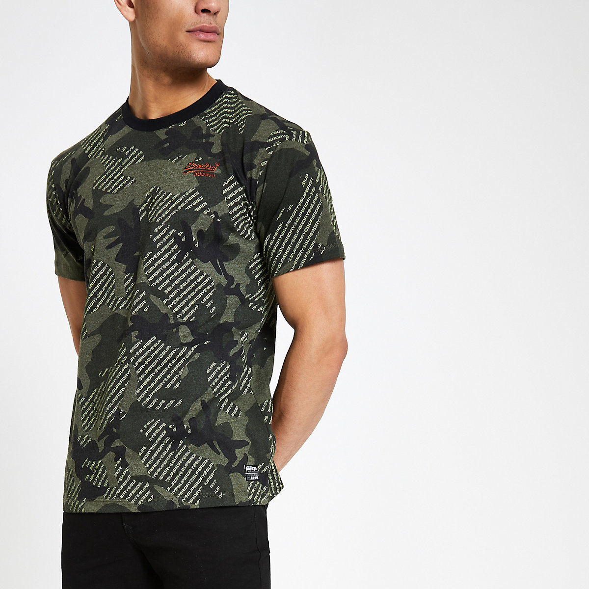 Superdry dark green camo boxy T-shirt