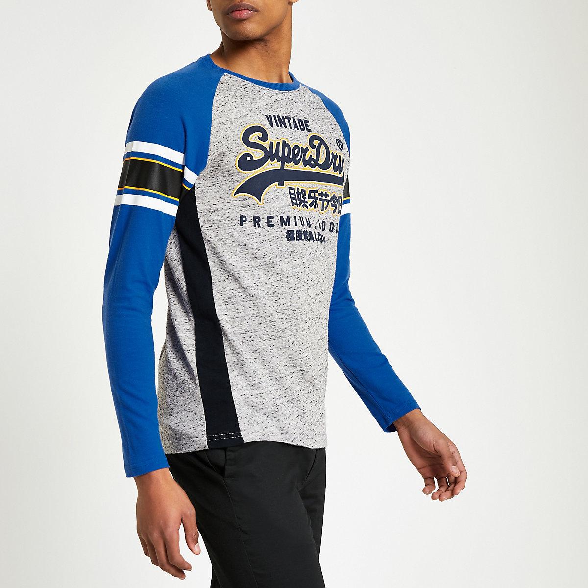 Superdry blue logo print T-shirt