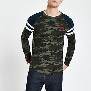 Superdry – Langärmliges T-Shirt in Khaki