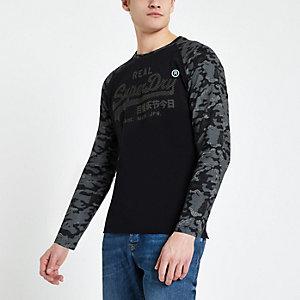 Superdry – T-shirt motif camouflage noir à logo vintage