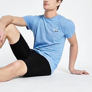Superdry – T-shirt bleu à logo brodé