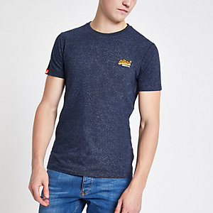 Superdry – T-shirt bleu marine à logo brodé