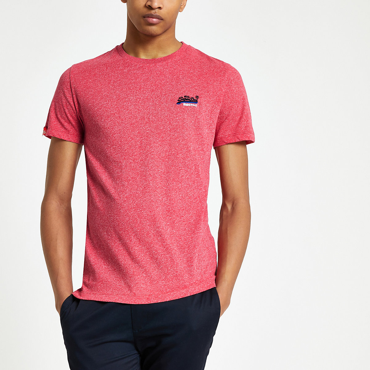 Superdry red logo embroidered T-shirt
