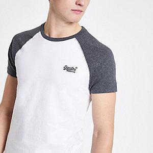 Superdry – T-shirt gris à manches raglan