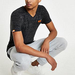 Superdry – T-shirt noir à col en V