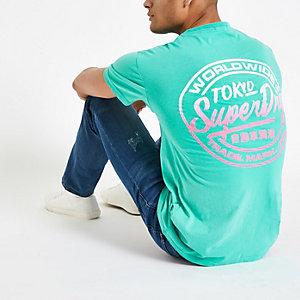 Superdry – T-shirt oversize vert à logo