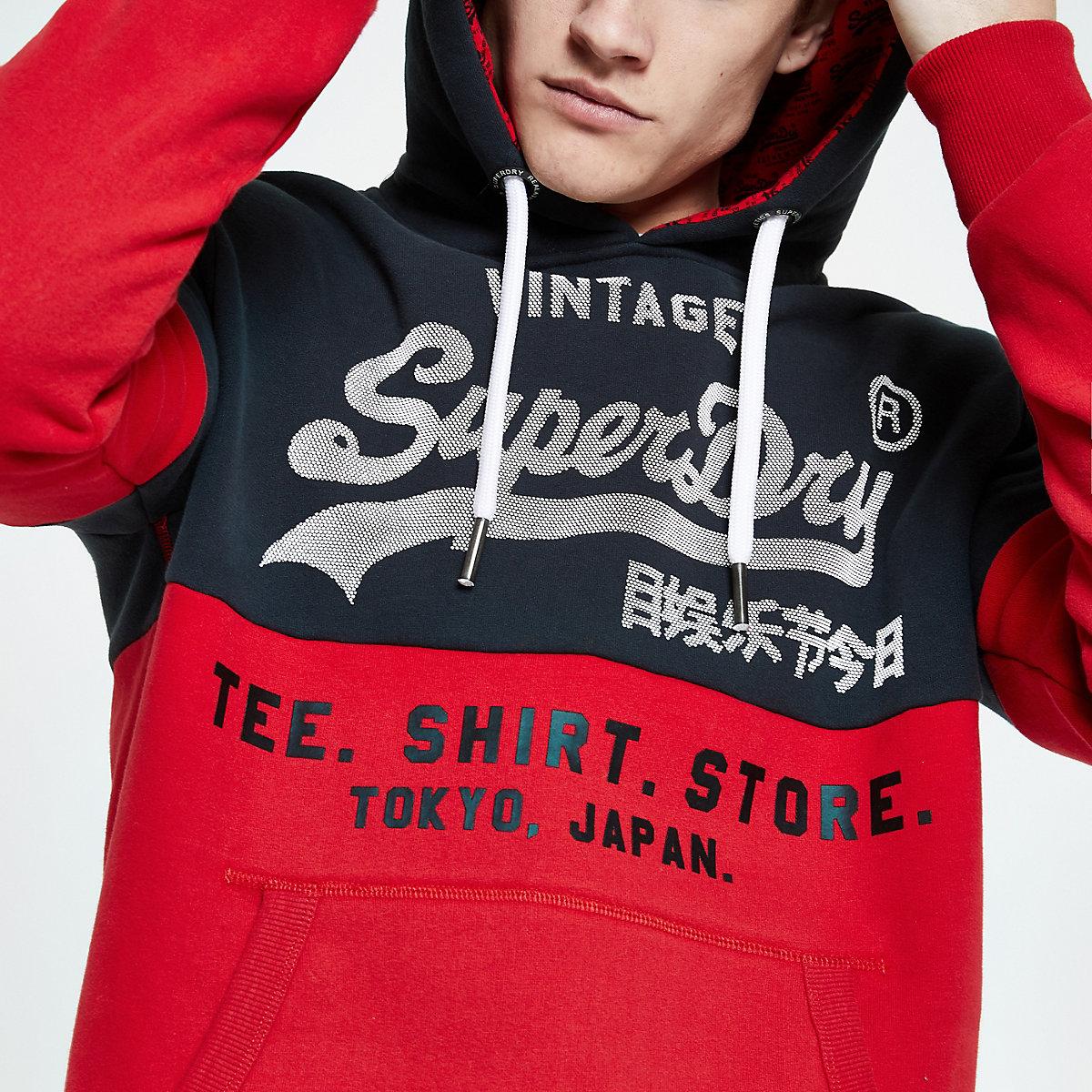 Superdry red block hoodie