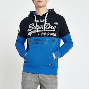 Superdry – Sweat à capuche colour block bleu