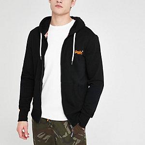 Superdry black zip up hoodie