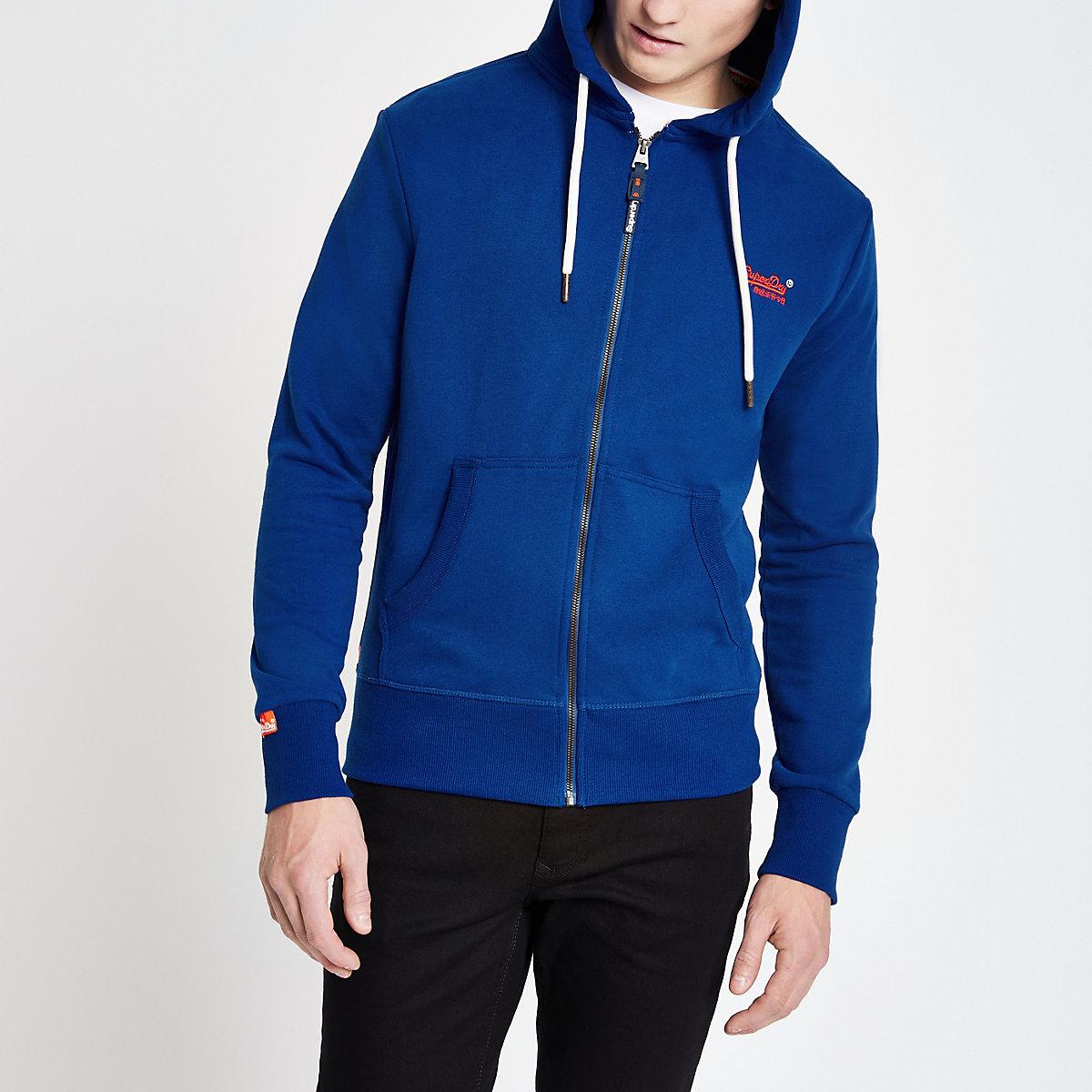 Superdry blue zip hoodie