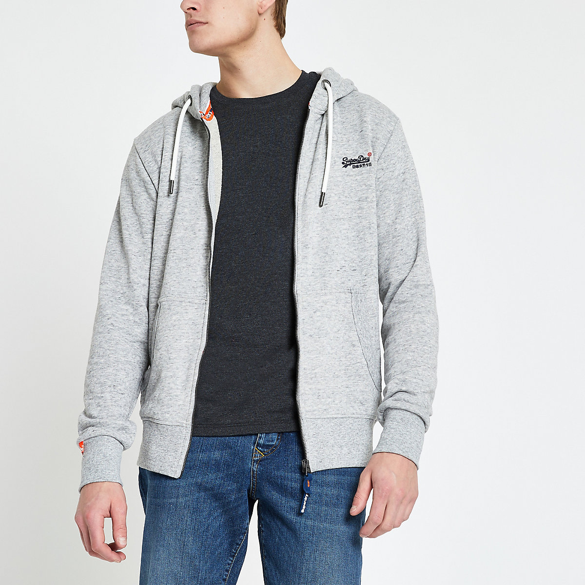 Superdry grey logo embroidered zip hoodie