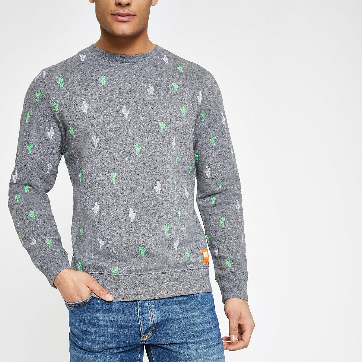 Superdry grey crew neck sweatshirt
