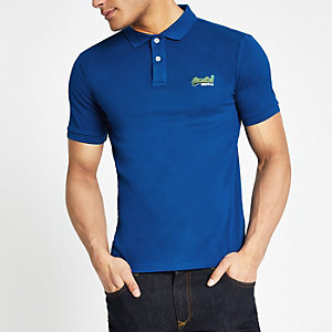 Superdry blue logo polo shirt