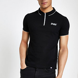 Superdry black half zip polo shirt