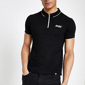 Superdry – Schwarzes Polohemd mit halbem Reißverschluss