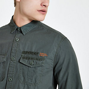 Superdry dark green chest pocket shirt