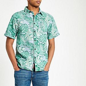Superdry - Blauw overhemd met bladprint en korte mouwen